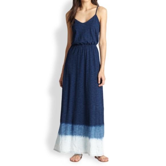 Splendid Dresses Blue Tie Dye Cotton Jersey Maxi Dress Poshmark